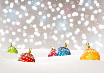 Christmas balls on bokeh background