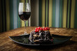 canvas print picture - A delicious dinner and a glass of good wine