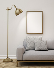 3D model of poster in  living room, lamp and sofa, background