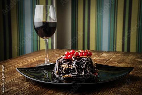canvas print picture A delicious dinner and a glass of good wine