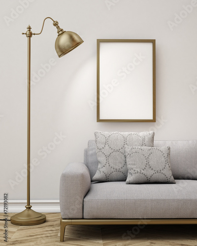 3D model of poster in  living room, lamp and sofa, background - 72193082