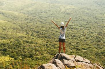 Freedom hiker on mountain
