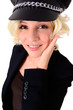 canvas print picture - Blondine mit Schirmmütze