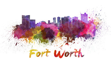 Fort Worth skyline in watercolor