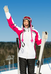 Half-length portrait of female skier