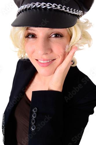 canvas print picture Blondine mit Schirmmütze