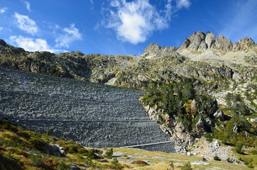 Artificial dam in the the High Pyrenees