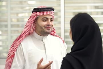 Arabian Business man meeting with arabian businesswoman