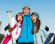 Half-length portrait of group of embracing skier friends
