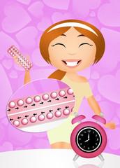 Girl wtih birth control pills