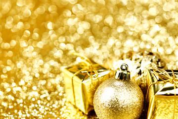 Christmas ball and gifts