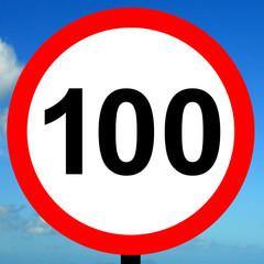 100 kpm speed limit road traffic sign.