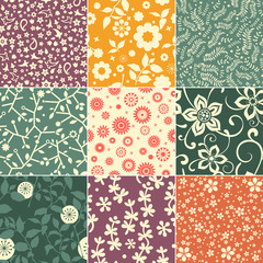 Collection of retro floral patterns