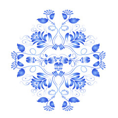 Blue floral element in the Russian national style Gzhel. Vector