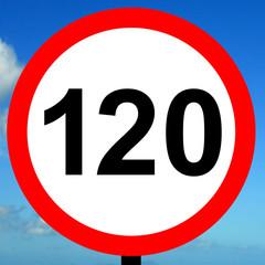 120 kpm speed limit road traffic sign.