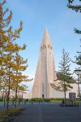 Vertical view of famous Hallgrimskirkja, Reykjavik, Iceland.