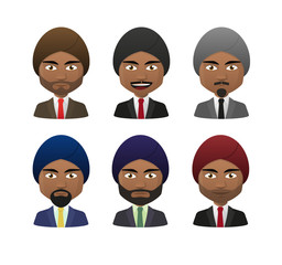 young indian men wearing suit and turban avatar set
