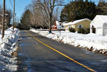 Plowed Street After a Winter Snow Storm