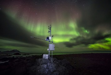 Remote Automated Weather Station in the Arctic - Northern Lights