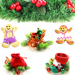 collage different Christmas decorations and symbols