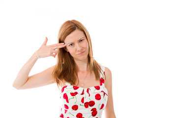 model isolated on plain background hand gesture gun