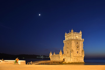 view of the belem tower at night (late afternoon), an historical