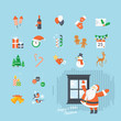 Set of flat design Christmas and New Year icons