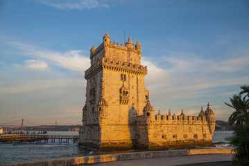 view of the belem view of the belem tower at sunset, an historic