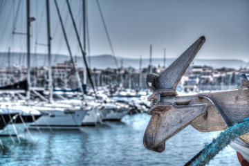 Close up of a boat anchor in Alghero harbor in hdr