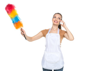 Young housewife cleaning house on white background.