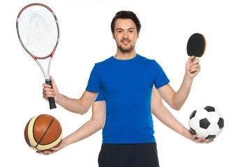 Portrait of man standing with classic soccer ball