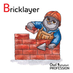 Alphabet professions Owl Letter B - Bricklayer Vector Watercolor