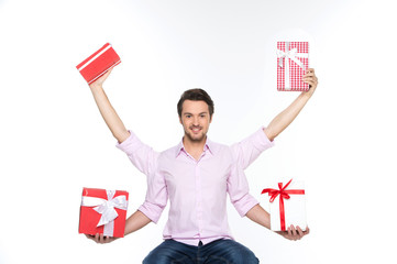Man lifted presents up isolated on white background.