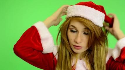 Christmas - Holidays - green screen - woman dress hat
