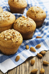 Homemade muffins with almonds