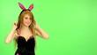 young erotic woman - green screen - flirting model dress costume