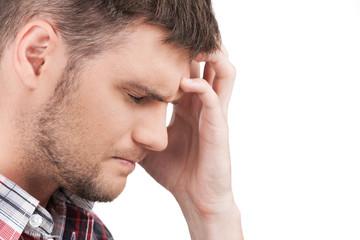 profile of man having headache on white background.