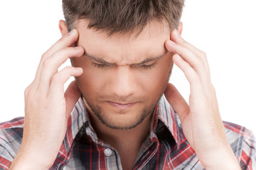man having headache on white background