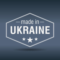 made in Ukraine hexagonal white vintage label