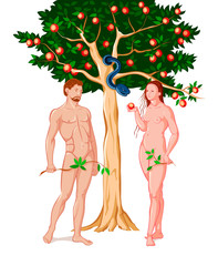Eve giving Adam the forbidden fruit at the Eden garden