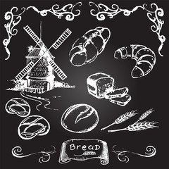 Hand drawn bread and mill
