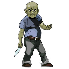 cartoon goblin man thug with a knife