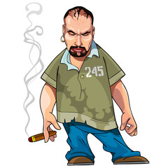 cartoon gangster gloomy man with a cigar