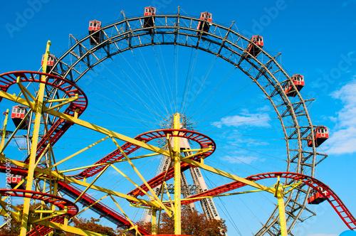Leinwanddruck Bild Giant Ferris Wheel in Prater Park, Vienna