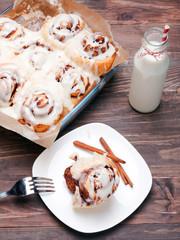 Delicious glazed cinnamon buns
