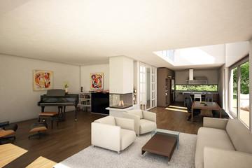3D Wohnraum rendering
