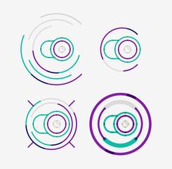 Thin line neat design logo set, camera concept