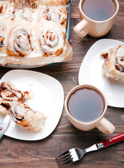 Delicious glazed cinnamon buns