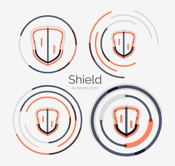 Thin line neat design logo, shield icon set