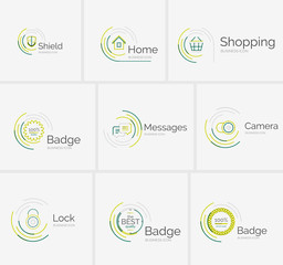 Thin line neat design logo collection